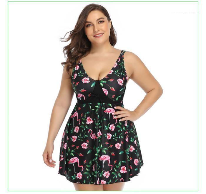 Kolsuz Swimdress Tatil Giyim Kadın Yaz Artı boyutu Plaj Mayo Oversize Ananas Baskılı Elbise Kadın İç Giyim