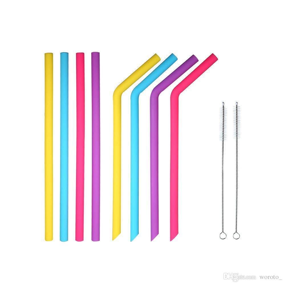 바 홈 마시는 빨에 대한 컵 식품 등급 25cm 실리콘 직선 구부러진 빨대를위한 다채로운 실리콘 빨대
