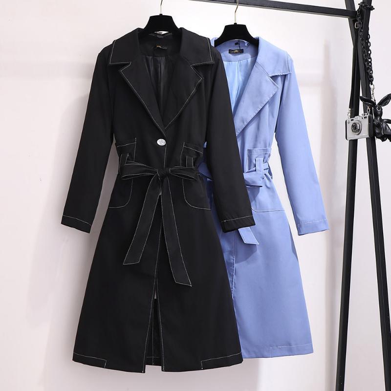 2020 Primavera Femenino Trench Coat High Street Mujer Ropa Sólido Flojo Pius Tamaño 6xl Trabajador Streetwear Creavientos con Cinturón T11