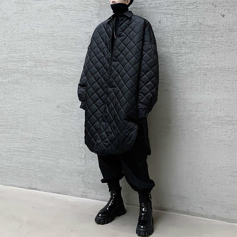 Plus Size Fashion 2020 femmes Parka manches Petit pleine de Split frais Casual unique Noir sein de la minorité Parka Manteau GCC3197