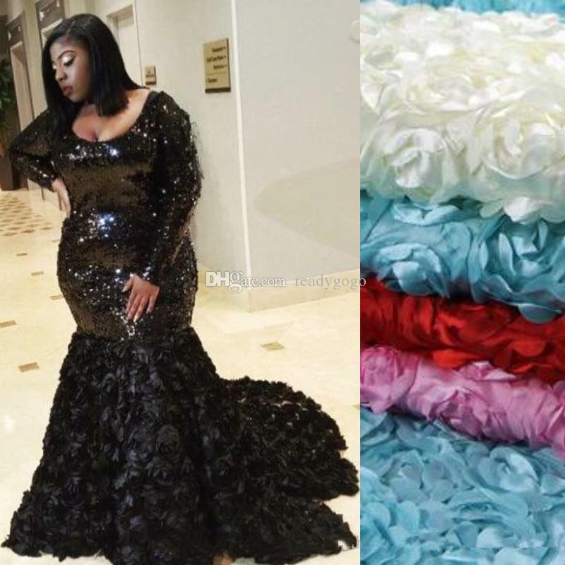 반짝이 검은 인어 댄스 파티 드레스 긴 소매 플러스 사이즈 특별 행사 드레스 스파클링 스팽글 3D 꽃 아플리케 이브닝 파티 가운