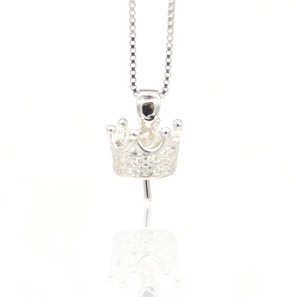 Whloesale S925 sterling silver Pendant mountings Zircon crown pendant can be used to make pearl necklace DIY accessory free shippings