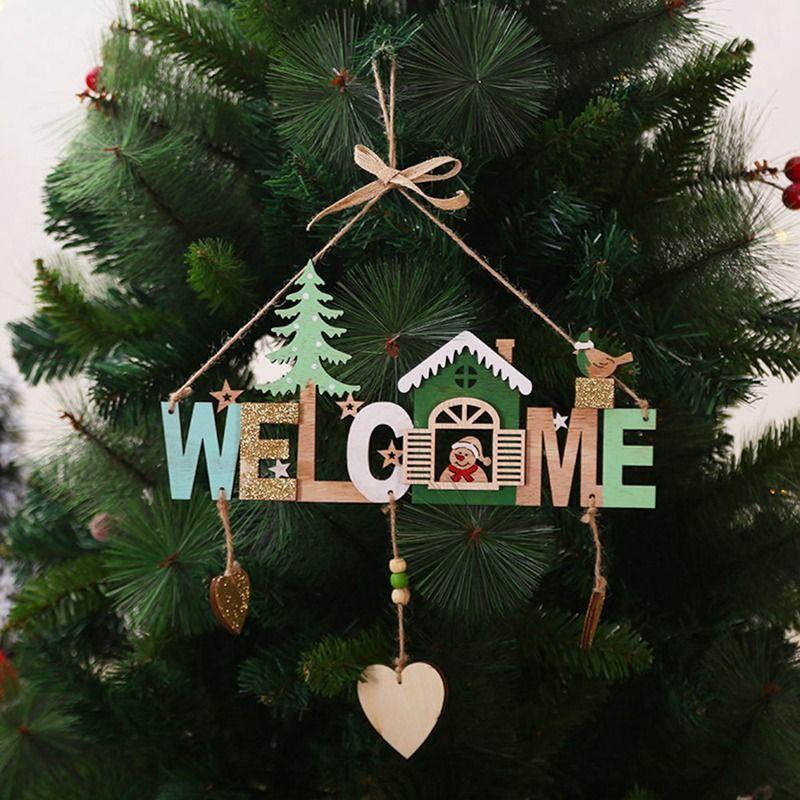 Árbol de Navidad Campanas de madera que cuelga adornos Welcome Signs decoraciones de Navidad para el hogar Decorazioni Decoración de Navidad Natalizie
