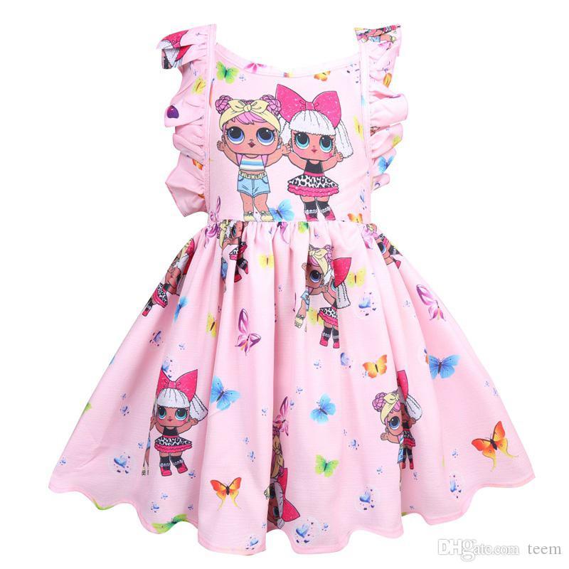 Compre Lol Meninas Vestido De Vestidos De Bebê 3 8y Verão Bonito Elegante Vestido De Festa De Crianças Trajes De Natal Crianças Roupas Princesa Por