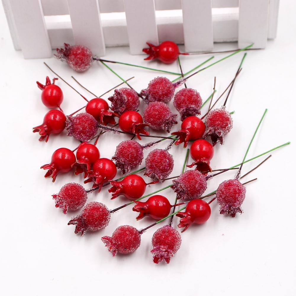 Decoración 10pcs plástico Mini Poco granada flores artificiales para la boda de la guirnalda DIY regalo Scrapbooking Flores