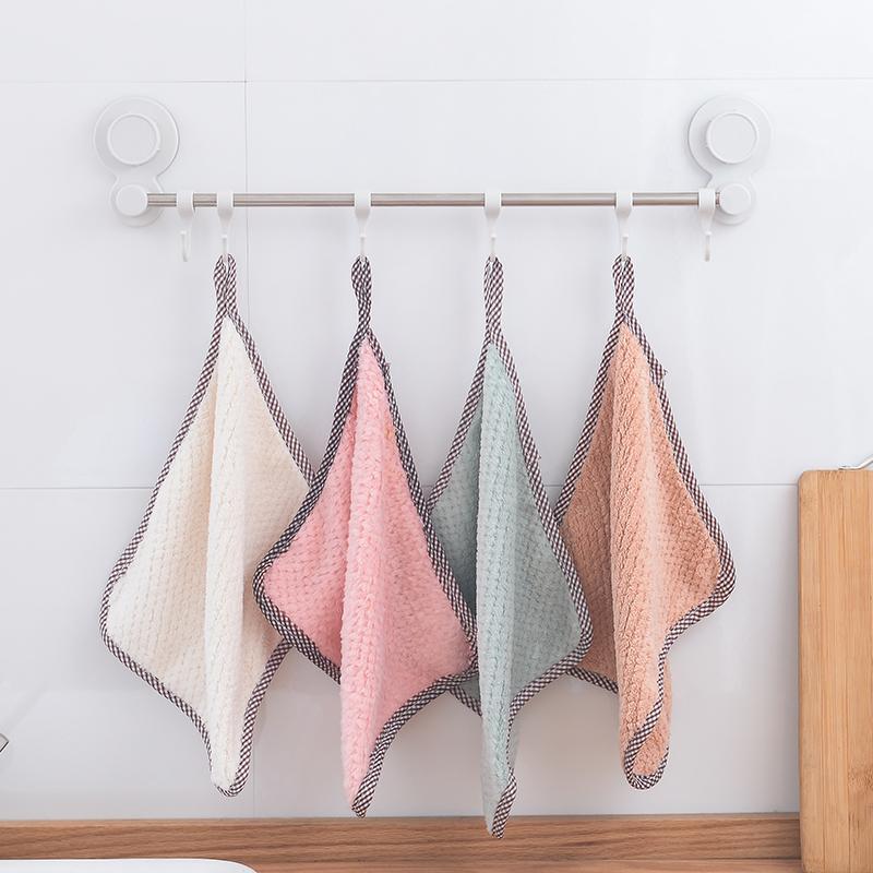 معلقة المرجان الصوف منشفة E806 الرئيسية مطبخ تنظيف منشفة الخالي من الوبر ماص خرقة غسل الصحون وتنظيف الملابس
