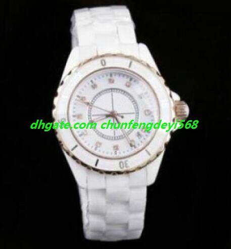2020 Lüks İzle 2 Stil H0968 Beyaz Seramik 33mm Kuvars Bayanlar Bilek Watch_411780 Moda Saatler Kol Saati