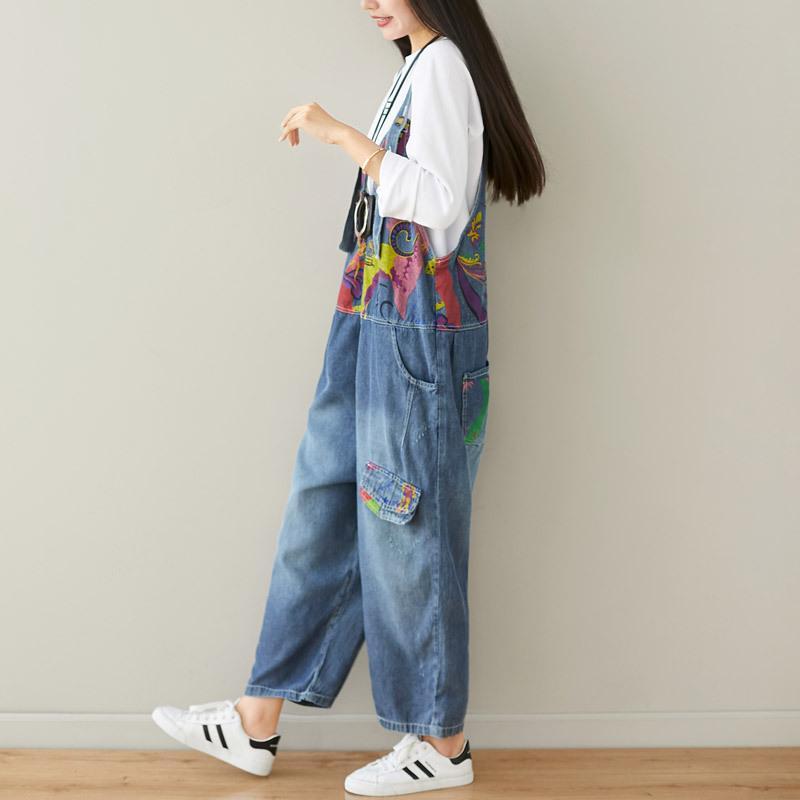 Boyfriend Jeans para mulheres Denim Macacões elegante Vintage Jumpsuit algodão macacãozinho 2019 Calças Outono Inverno Imprimir perna larga Nova