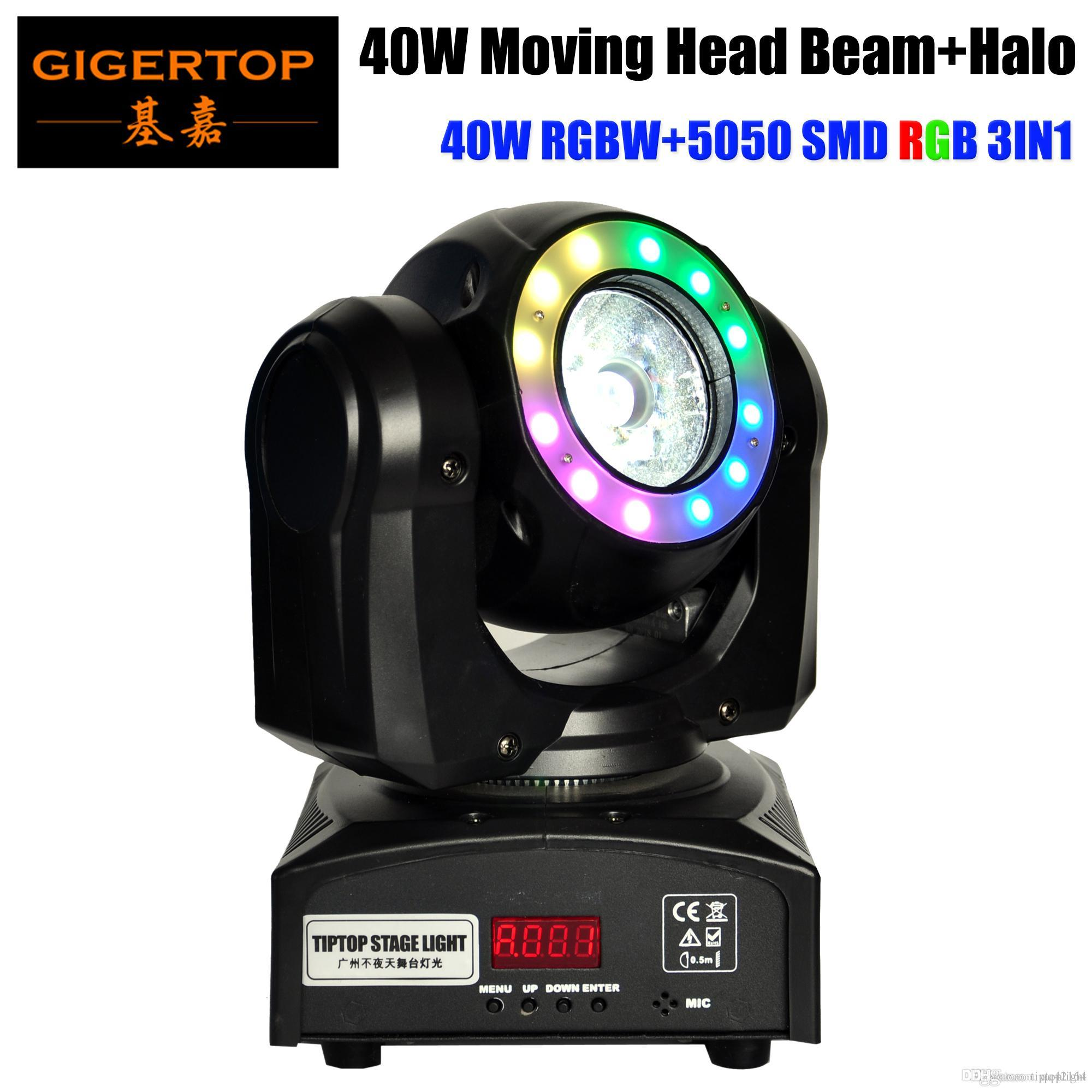 Freeshipping 40W Led Moving Head feixe de luz RGBW 4IN1 Tyanshine com 5050 SMD RGB Anel Belt 16/21 CH 8 graus Ângulo de feixe CE ROHS