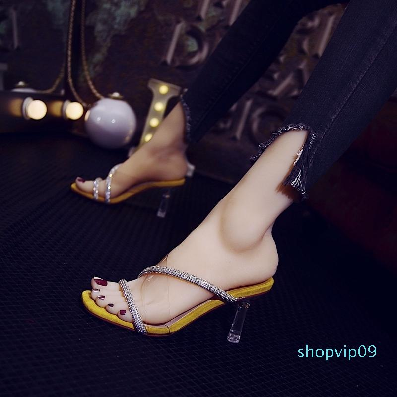 Current2019 Slipper Transparent Rhinestone Crossing One Font Other Clothes Temperament Sandals High-heeled Shoes Fine With