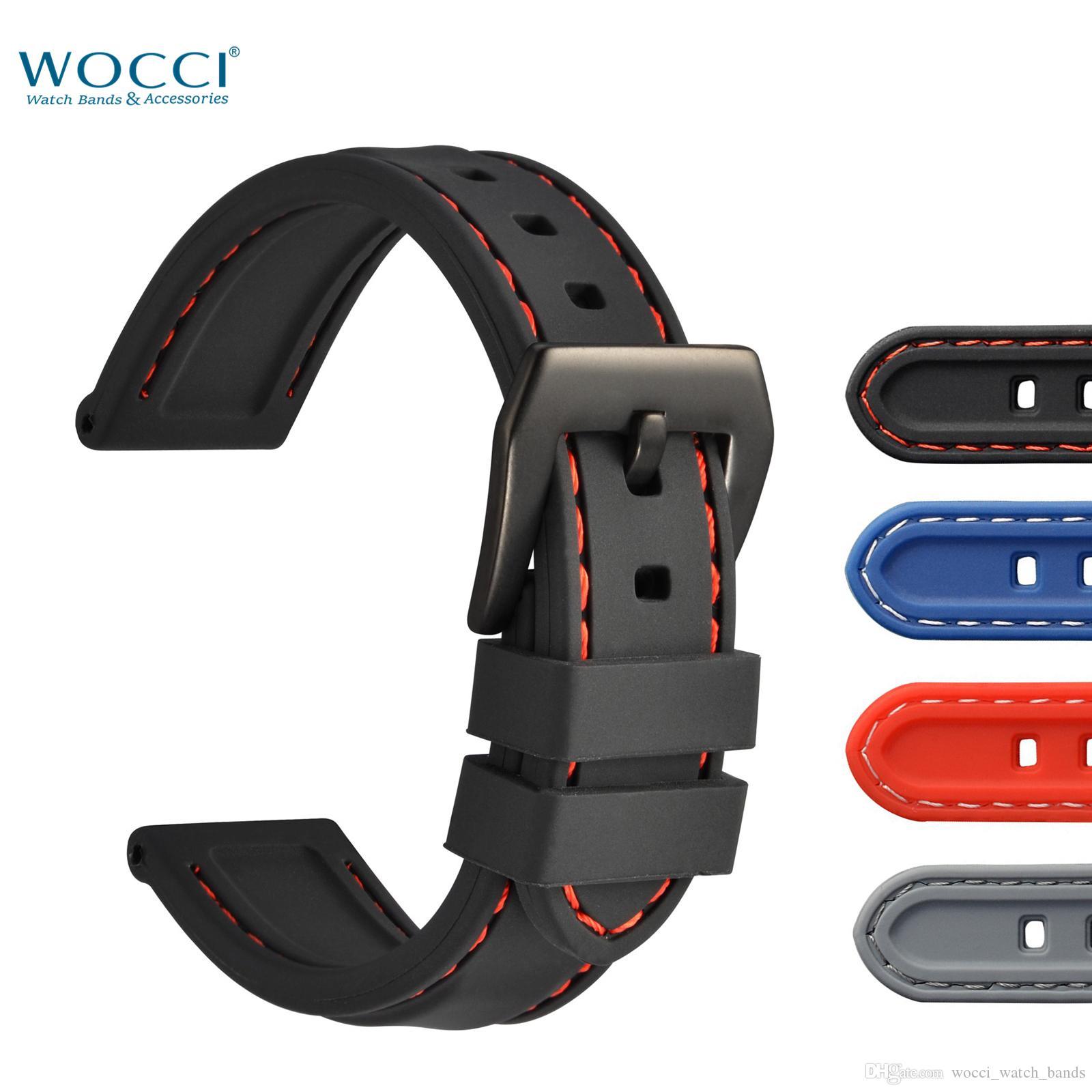 WOCCI 18mm 20mm 22mm 24mm Bandes De Montre En Silicone Confortable Étanche Sport Smart Strap Pour Hommes Dames Montre-Bracelet
