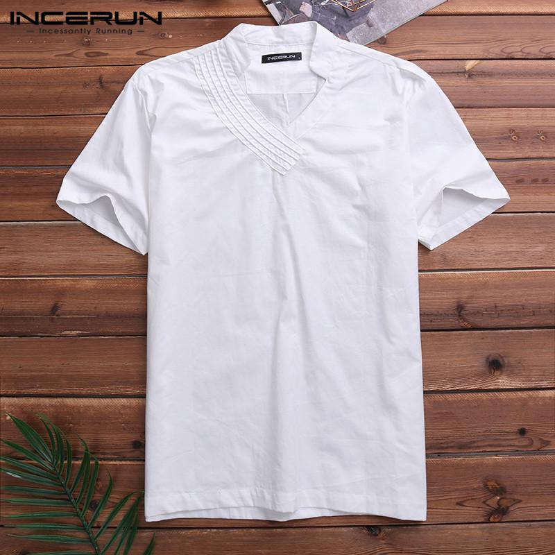 Big Sale BBesty Mens Summer Fashion Linen Short Sleeve Solid Color Crew Neck Loose Casual T Shirt Blouse