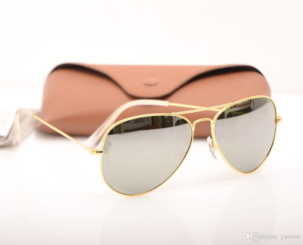 Top Glass Hombres Piloto Espejo de pilotos Gafas de mujer Gafas de lentes Ray Gafas de sol Gafas de sol Sun Designer Sun Classic con marrón Urasr