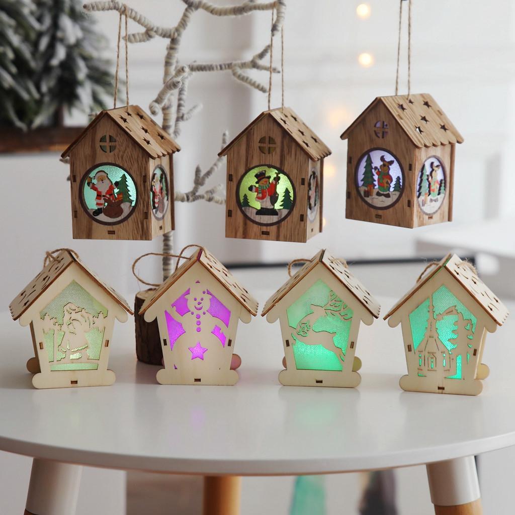 Noel Dekorasyon Aydınlık DIY Hediye kolye Ahşap Ev Dekoratif Festivali Baubles Yılbaşı Noel ağacı Süsler SH190918 Asma