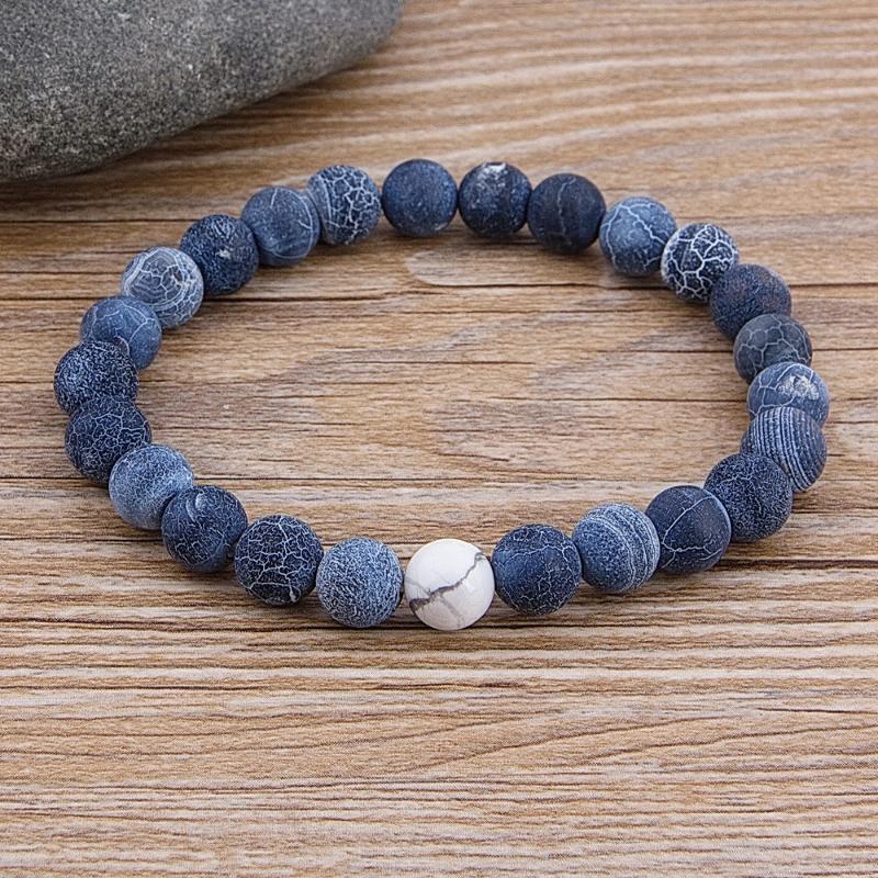 Personalizado Feminino Masculino Marble Bead Tiger Eye Bead azul Lava Pulseira Pedra Natural Ampla 8MM pedra Handmade Boho Jóias