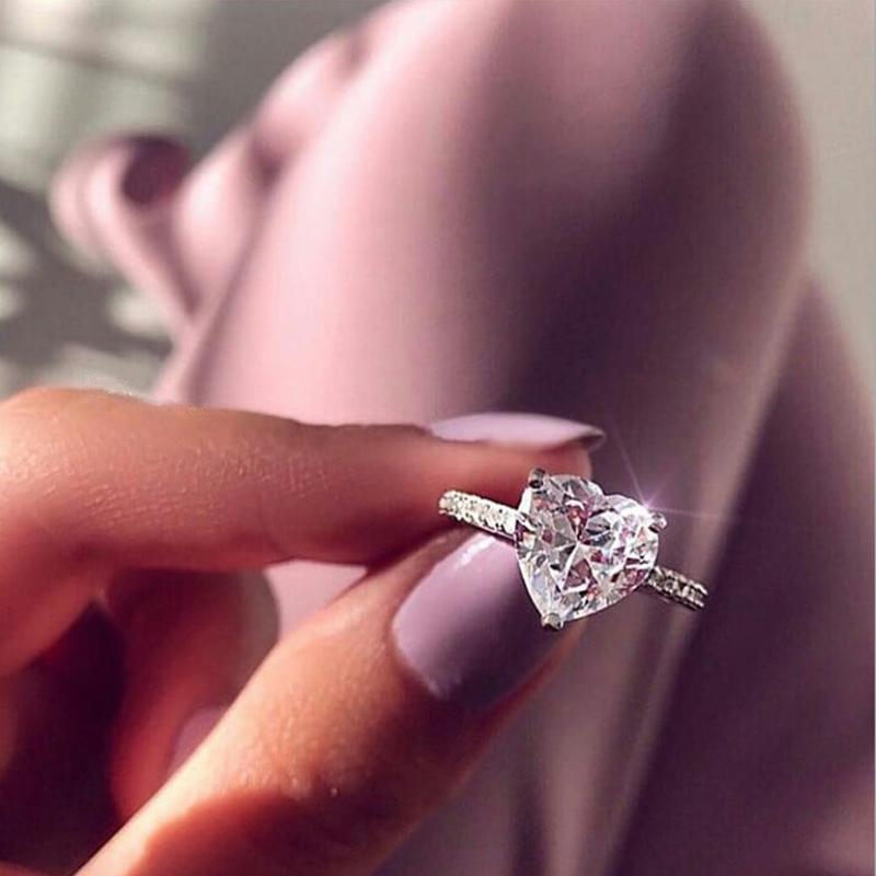 Kadın Zirkon Alyans Glamour Takı için 2020 yeni moda Kristal Kalp Gümüş Alyans