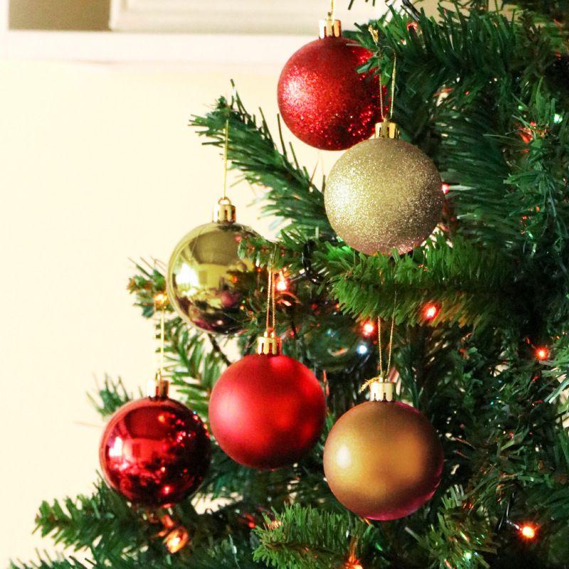 US Stock Christmas Tree Hanging Balls Decor Party Wedding Baubles Ornament 24Pcs