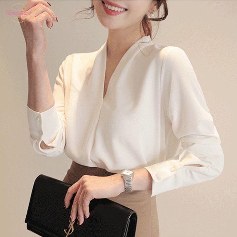 Femmes Chemises manches longues en mousseline de soie blanc bureau solide Chemisier femmes Vêtements Femmes Hauts Et Blusas Mujer De Moda 2020 A403