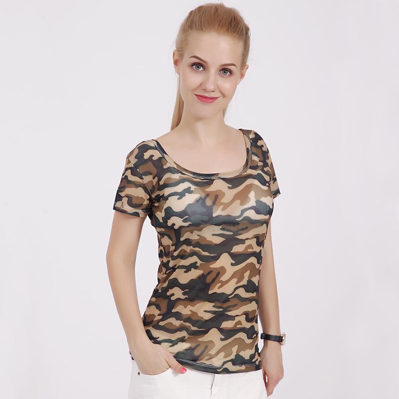 11 Colors Women Summer Print Knitting Camouflage Tshirt Big O-Neck Tops Tees Shirts Female Casual Short Sleeve T-Shirt Breathable
