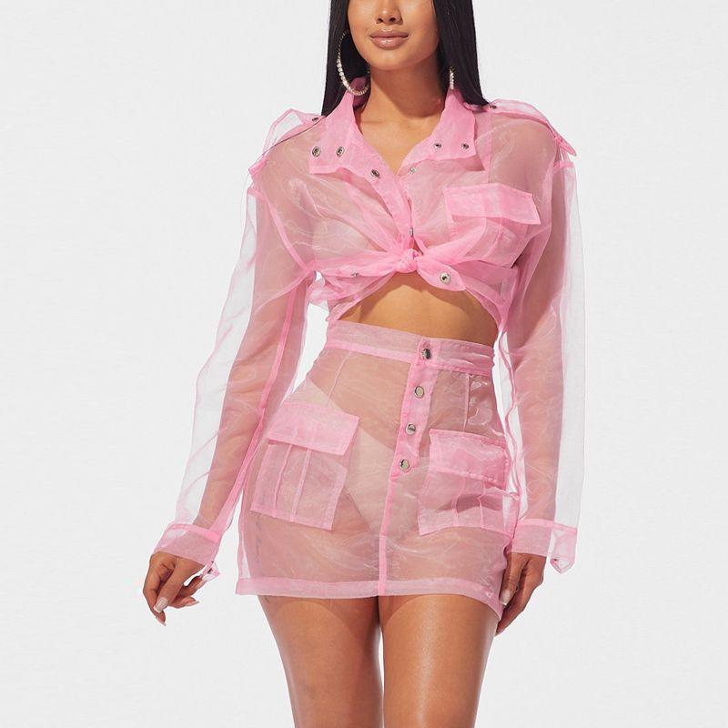 다운 칼라 버튼 재킷 탑과 미니 스커트 세트 밤 파티 Clubwear 여성 2 조각 여름을 돌려 의상을 통해 참조