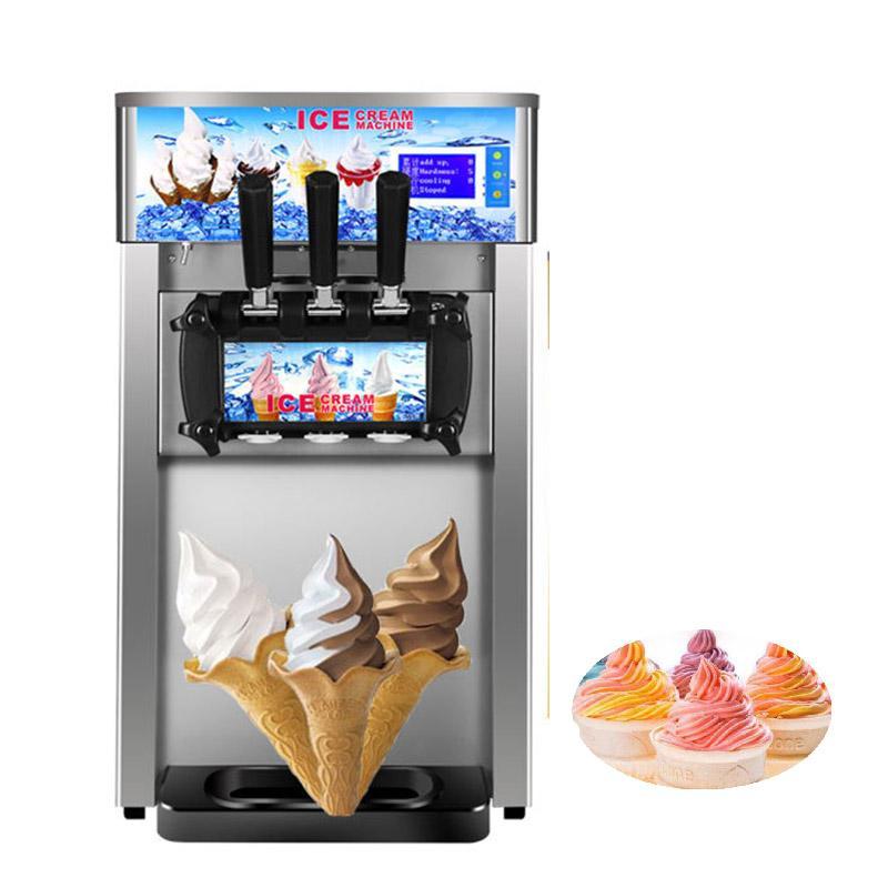 3 Flavors macio máquina de sorvete 1200W Ice cream fabricante de aço inoxidável sorvete de iogurte 404a / R22