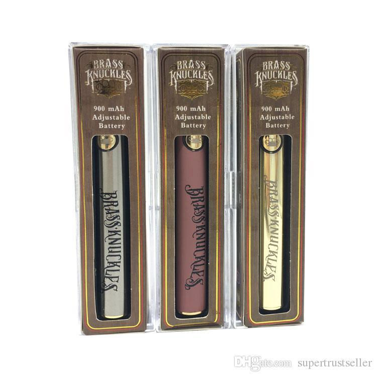 Brasso più caldo Knuckles Carrette Batteria Vape 650mAh 900mAh Valtaggio Variabile Preriscaldamento Penna di sigaretta E-sigaretta per la cartuccia dell'olio spessa del filo 510