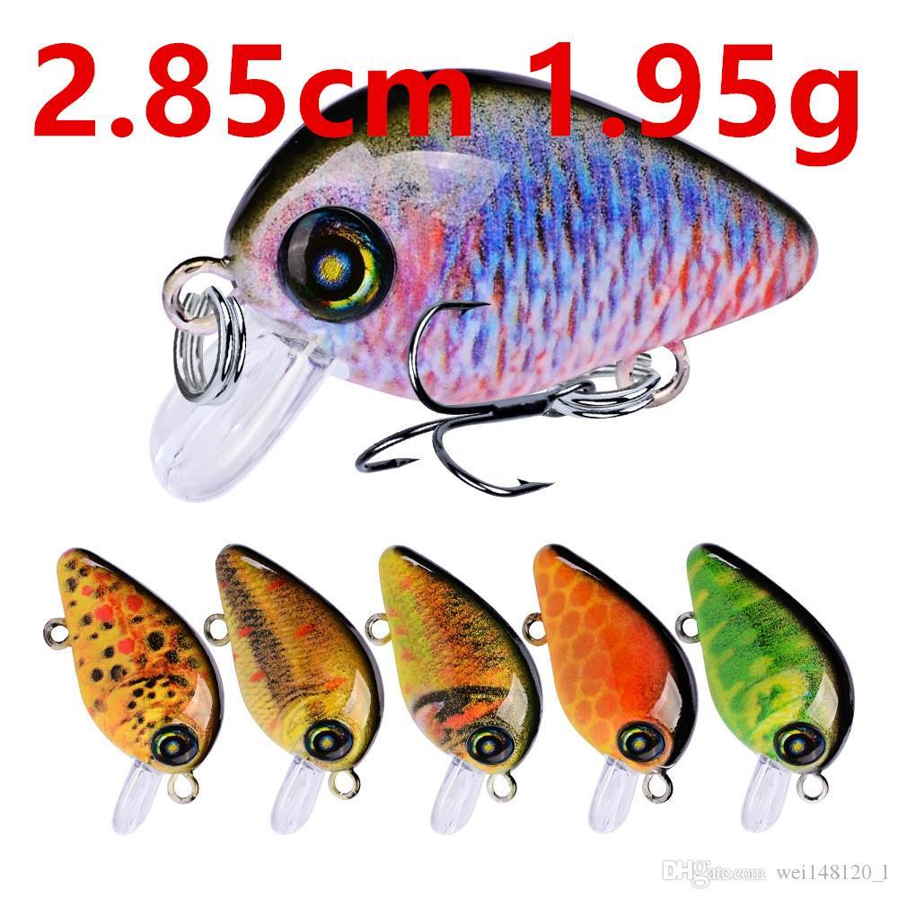 10 Color 2.85cm 1.95g Crank Fishing Hooks Fishhooks 14# Hook Hard Baits & Lures Fishing Tackle f-002
