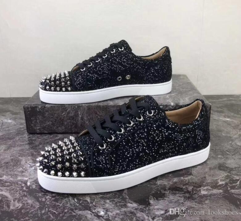 Louis Vuitton LV shoes Luxo Glitter Couro Moda parte inferior vermelha Shoes Spikes Sneakers para as Mulheres, Homens Casual Walking Marca EU35-47 Designer Walking