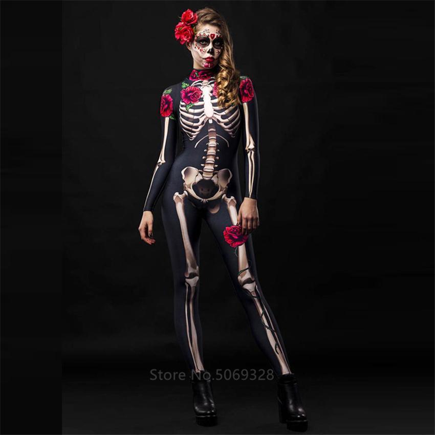 Скелет розы Сексуальные женщины Хэллоуин дьявола Призрак Комбинезон партии Carnival Performance Scary костюм Дети ребёнки День мертвых