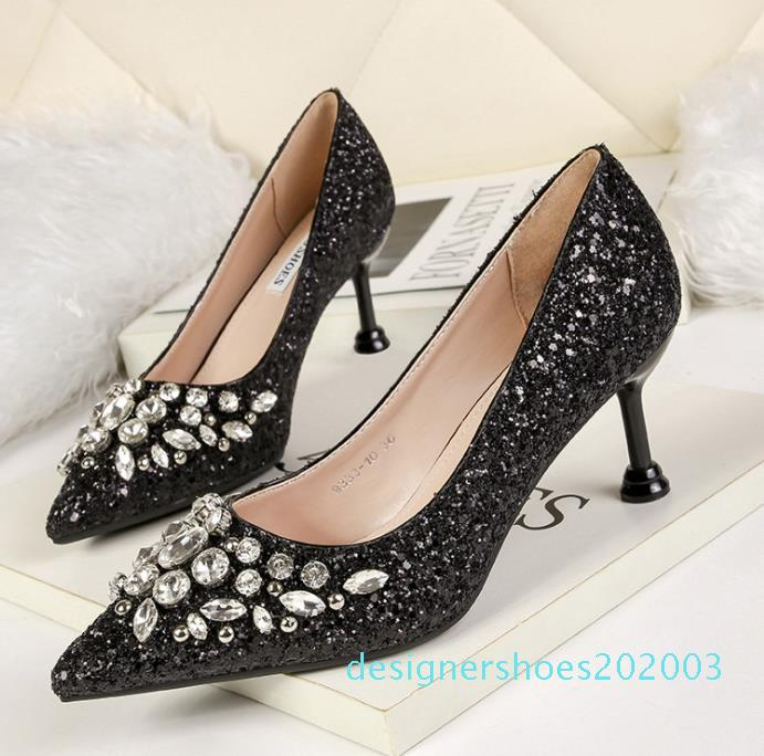 Sexy glitter prom shoes red silver gold pointed kitten heel pumps bridal wedding shoes luxury women designer shoes size 34 to 40 03d