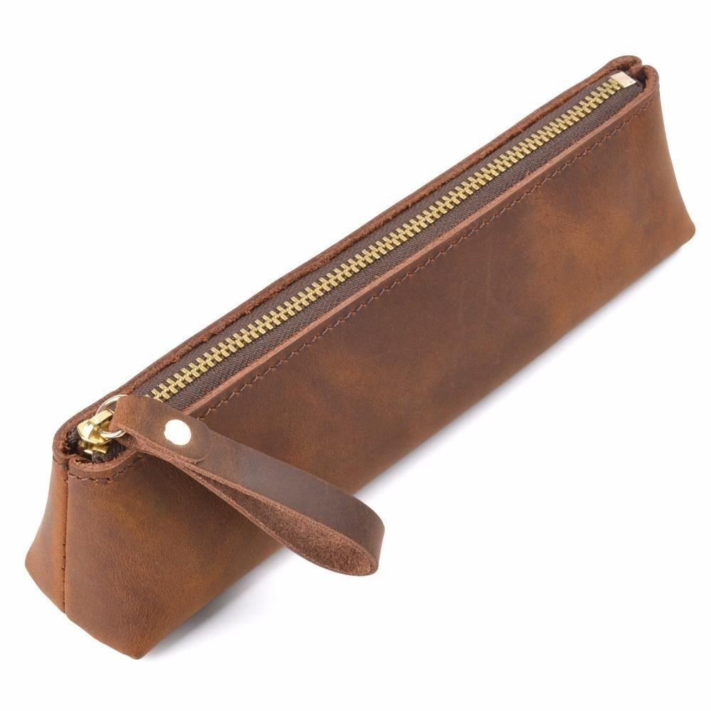 Genuine Leather Zipper Pen Case Pencil Bag Large Capacity Vintage Crazy Horse Leather Handmade Creative School Stationary T8190621