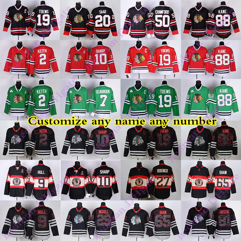 Personalizados RBK Chicago Blackhawks jérseis 88 Camisa KANE 19 TOEWS 2 KEITH 7 SEABROOK 10 SHARP 9 HULL 50 CRAWFORD Hossa SHAW Hockey