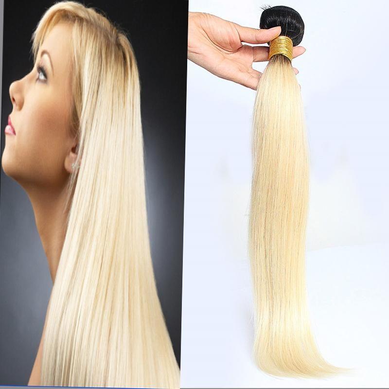 Ombre brasiliana diritta dei capelli umani del tessuto dei capelli Ombre 100g 1pcs T1b / 613 non -Remy tessitura dei capelli