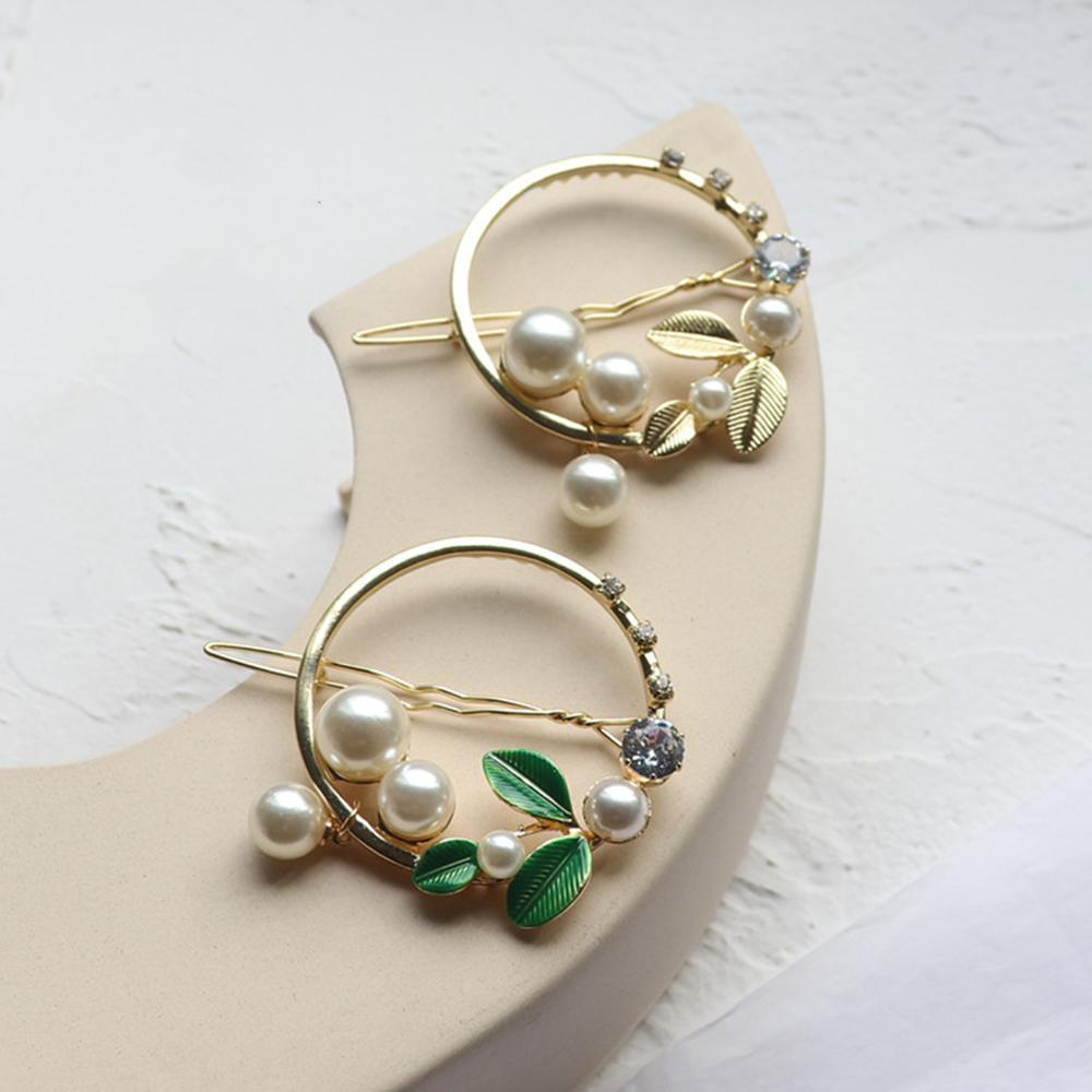Fashion Girls Pearl Alloy Hairpins Pearl Hair Clips For Women Hair Accessories Glitter Barrettes Headwear Round Frog Clip