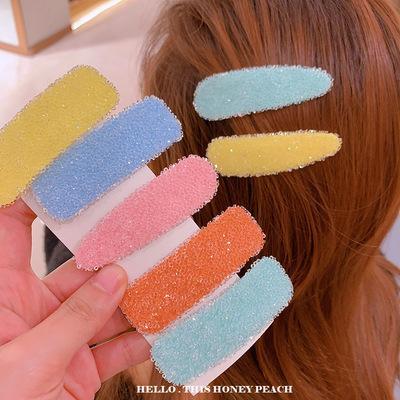 Clips INS moda del color del caramelo del estilo simple de las muchachas del resorte ocasional del clip Noche partido del club Solid Clips de las mujeres del color
