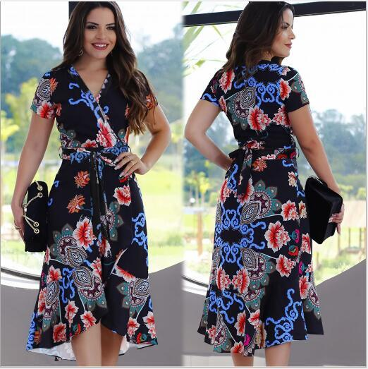 2020 summer new hot women's Clothing European American cross-border sexy short-sleeved printed strap Casual Dresses dress