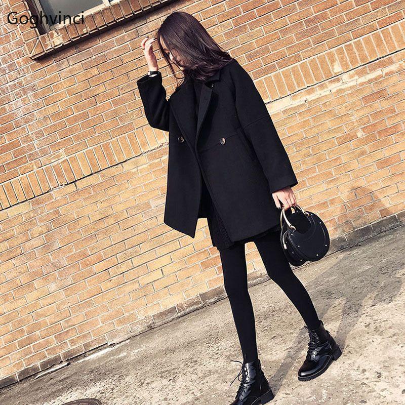Wool Winter Coat Women Black Solid Simple Korean Style New Trendy Womens Coats Ladies Harajuku Clothing Elegant Casual All Match