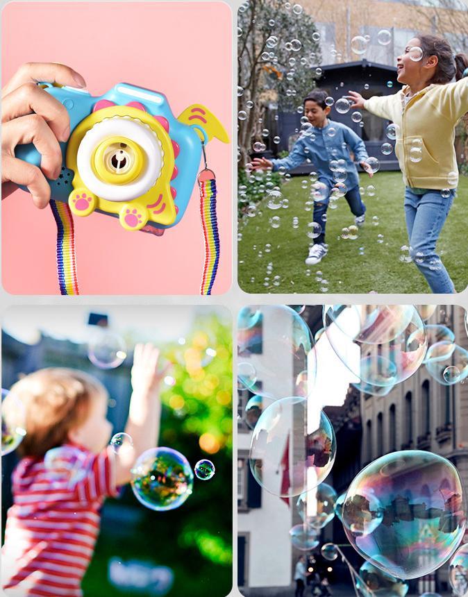 Desarrollado estadounidenses niños stock lindo divertido de la historieta de la burbuja eléctrico automático de la máquina del ventilador de la manija de la batería deportes al aire libre burbuja de jabón fabricante de juguetes FY4094