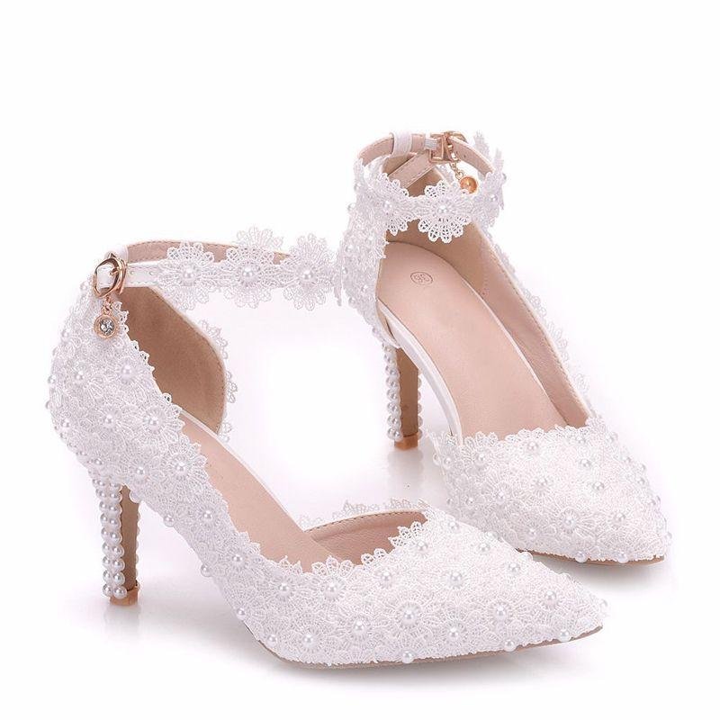 Scarpe Sposa Tacco 12.Acquista Scarpe Da Sposa Bianche Con Fiore Tacco Alto Scarpe Da