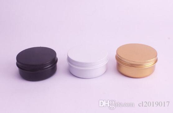 Freies verschiffen 50g 50 ml Aluminiumglas Gold Schwarz Weiß Kosmetische Creme Verpackung Zinn Metallbehälter Aromatherapie Wachsaufbewahrungstopf Schraubdeckel