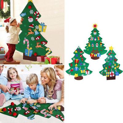 Weihnachtsbaum Mode DIY Filz mit Dekorationen Türwand Hanging Kids Pädagogisches Geschenk Weihnachtsress ca. 77x100cm EEA463