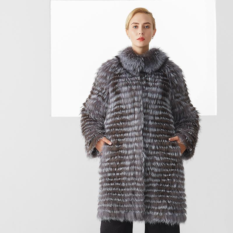Kış Gerçek Kürk Kadınlar Şık Lüks Gri Renk Natürel Uzun Kapalı ceketler Ceket Kadın Plus Size