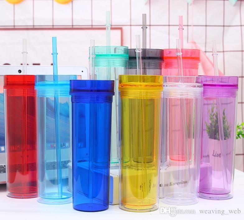 500 ml de acrílico tumblers isolados dupla parede copos de suco de plástico xícaras de café 16oz com dois camada de tampa de palha tampa