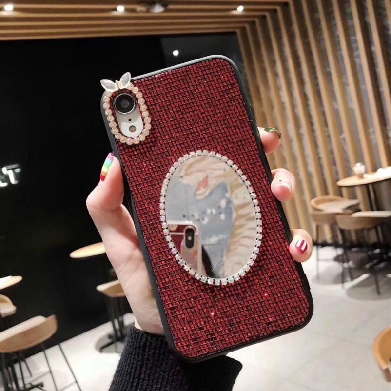 Women Cute Case Diamond Designer Rear Cover for IPhone XR XS MAX X 8 7 6 with Makeup Mirror Rabbit TPU Phone Case 4 Styles Wholesale