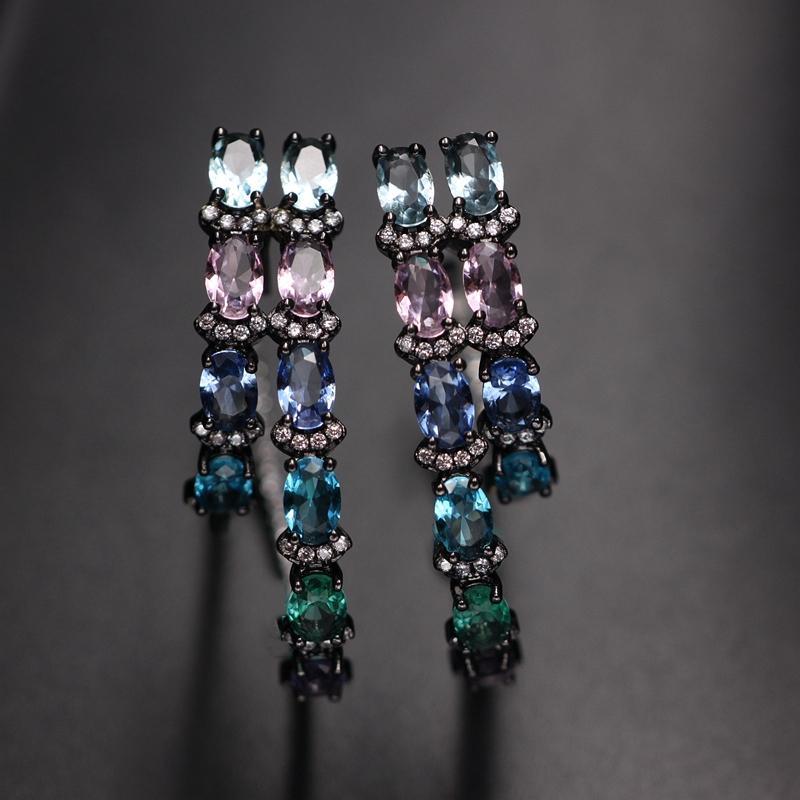 Colorido Círculo Grande Aro Pendiente Para Las Mujeres Regalo Multicolor Cristal Doble Ronda Circón Aro Pendiente Boho Joyería Del Partido de Moda T190625