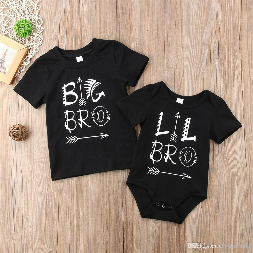 NEW CUTE Little Big Brother Family Matching Boys Clothes Baby Kid Bodysuit Tops