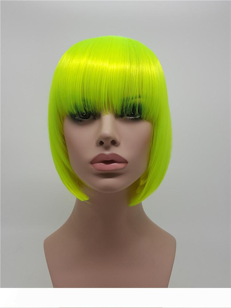 XT717 Moda Floresan Yeşil Sentetik Kadın Kısa Anime Kısa Saç Ünlü Rave Tam Peruk Cosplay Parti Düz Sentetik Saç