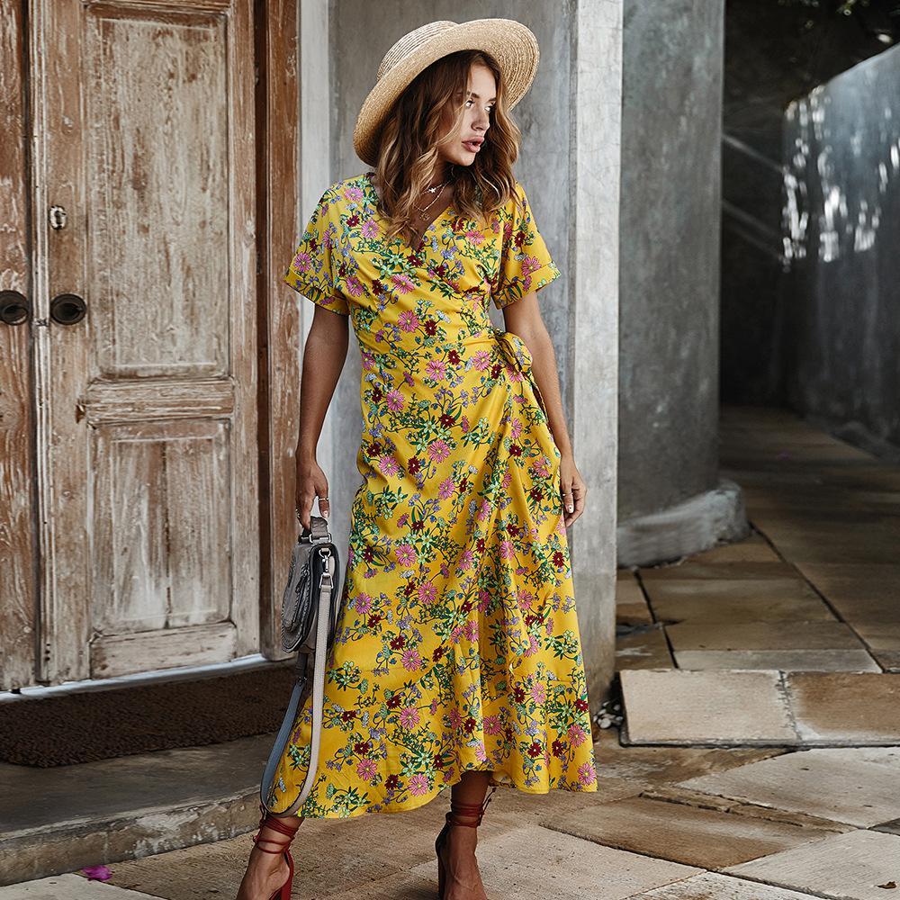 Original high-end design europeu e modelos temperamento das mulheres americanas vestido de 2020 mulheres de vestido de impressão
