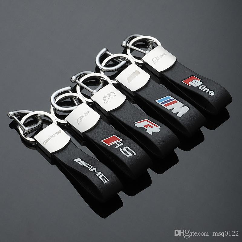 سلاسل مفاتيح من الجلد الأسود الفاخر من الصلب حامل مفتاح لـ M / / RS SLINE GMC VW Golf Benz AMG Audi SLINE Volvo سلاسل مفاتيح