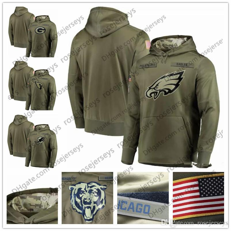 online store baed9 8d99a Philadelphia Green Bay Eagles Packers Miami Arizona Dolphins Cardinals  Olive Sweatshirt 2018 Salute to Service Pullover Hoodie Men Women Kid